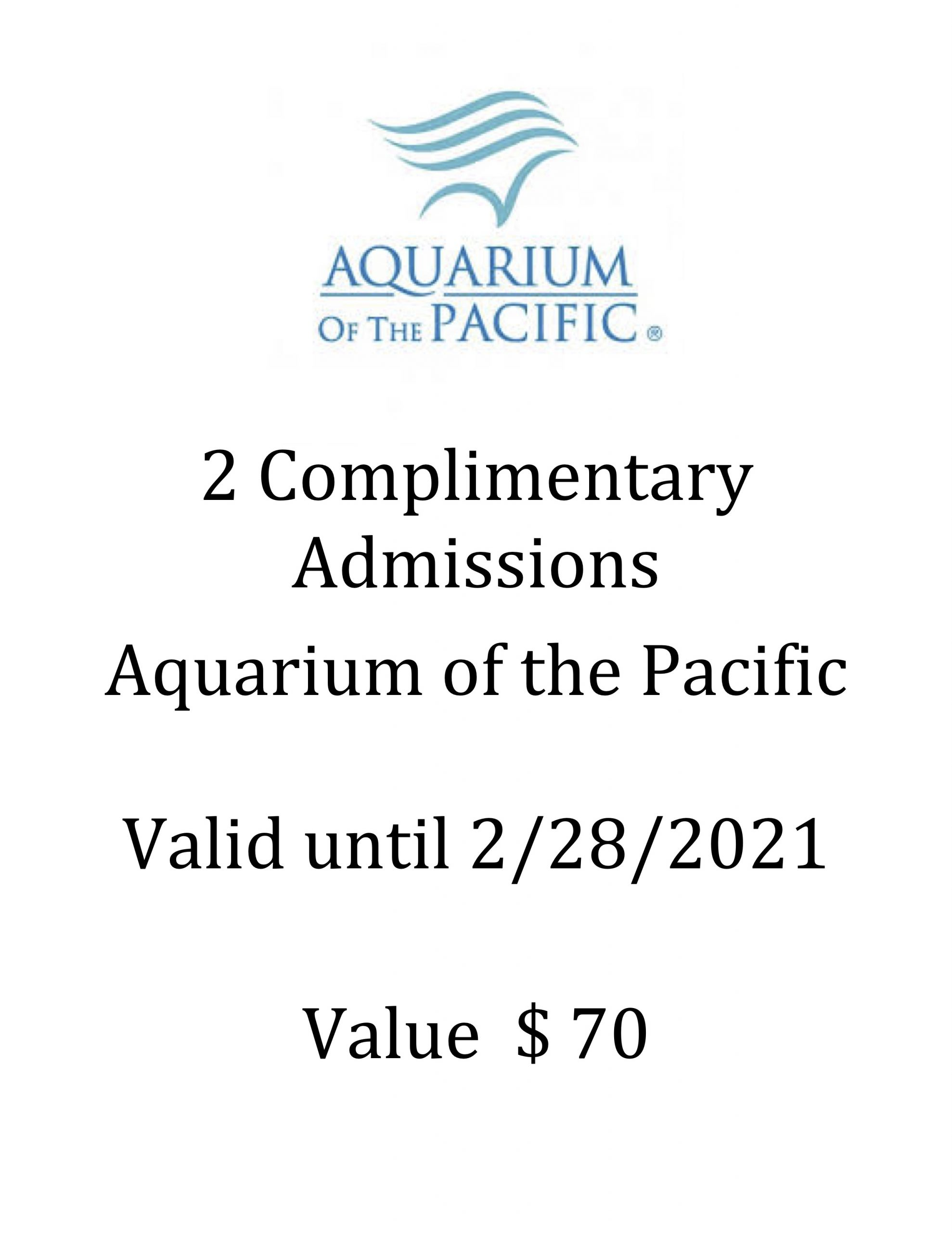 #1789  Aquarium of the Pacific - Value $70